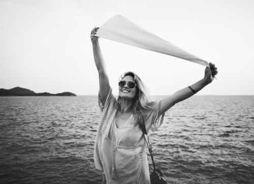beach black and white casual cheerful